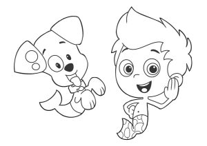 Gil and Puppy Bubble Guppies Coloring Page