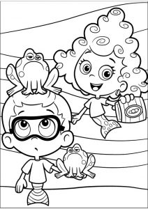 Goby and Deema Printable Bubble Guppies Coloring Pages for Kids Frog Sitting on Nonny