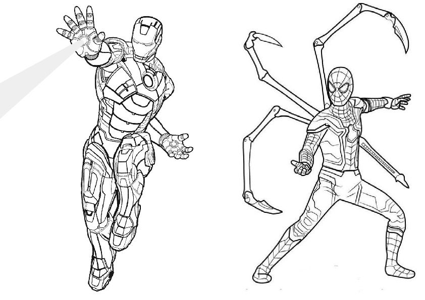 Iron Man and Avengers Endgame Spiderman Coloring Pages
