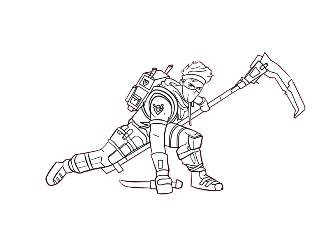 Ninja Fortnite Coloring Pages Printable PDF