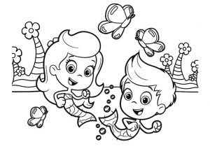 Nonny Gil and Molly Bubble Guppies Coloring Pages Playing Underwater with Butterflies