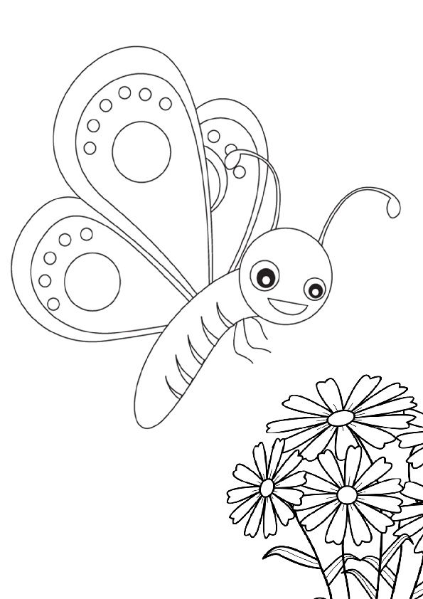 Printable Flowers and Cute Baby Butterfly Coloring Pages