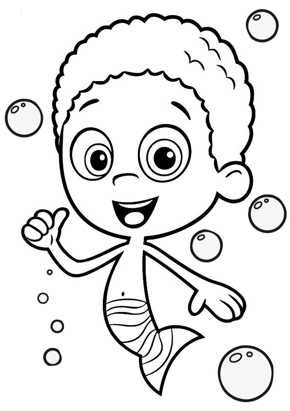 Smiling Bubble Guppies Goby Coloring Pages