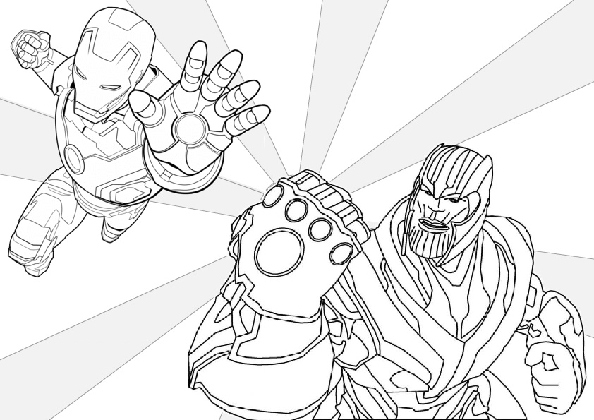 Thanos and Avengers Iron Man Coloring Pages