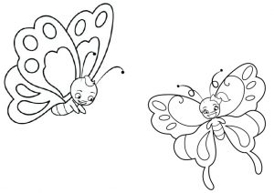 Two Cute Butterflies Coloring Pages