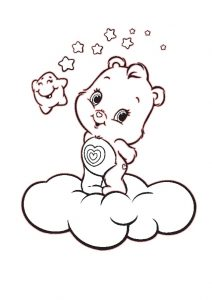 Adorable Care Bear Over the Clouds Coloring Pages