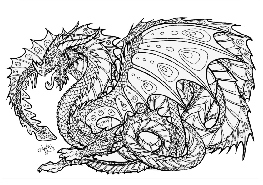 Adult Coloring Pages Printable Dragon Pictures