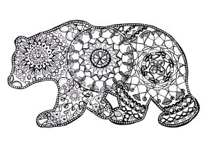 Adult Hard to Color Bear Mandala Coloring Pages