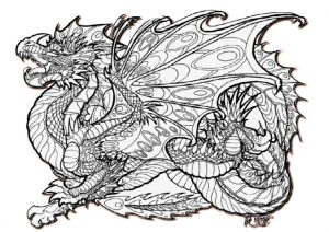 Advanced Detailed Dragon Coloring Pages For Adults