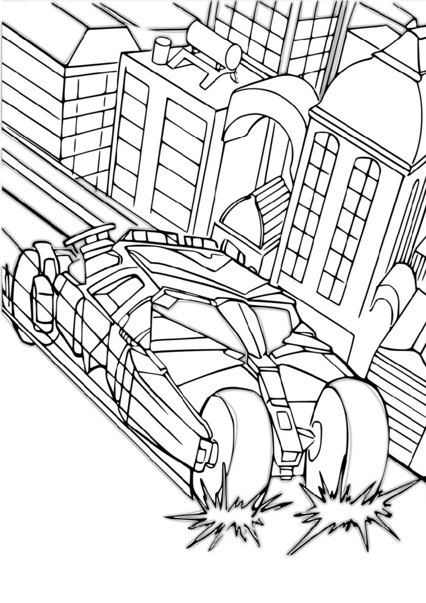 Armed Batmobile in Gotham City