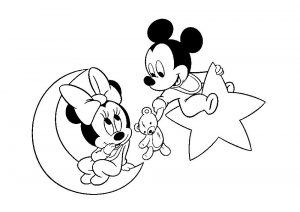 Baby Minnie and Mickey Mouse Coloring Pages Mickey Mouse Gifts a Teddy Bear for Minnie Mouse