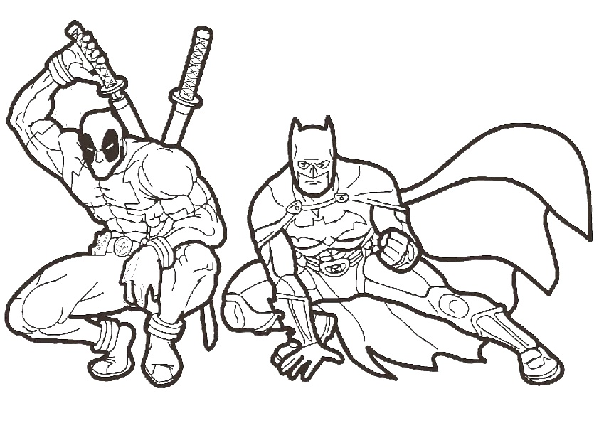 Batman and Deadpool Combo Coloring Pages