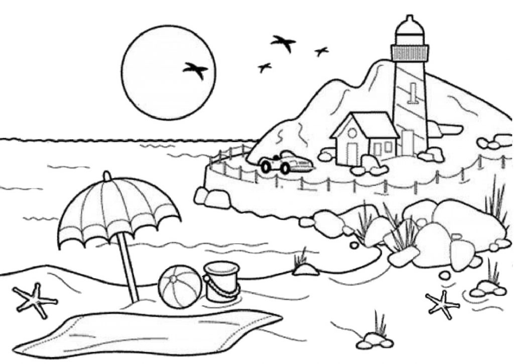 Beach Lighthouse Evening Sunset Summer Coloring Pages