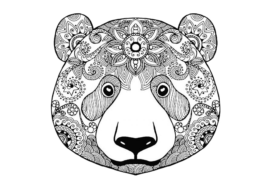 Bear Mandala Coloring Pages for Adults