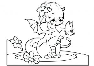 Beautiful Cute Dragon Coloring Pages for Girls