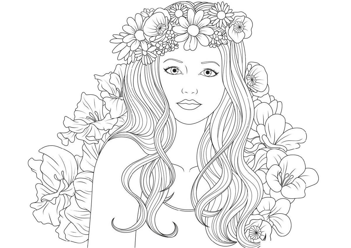 Beautiful Cute Young Girl Coloring Pages for Teen - Print Color Craft