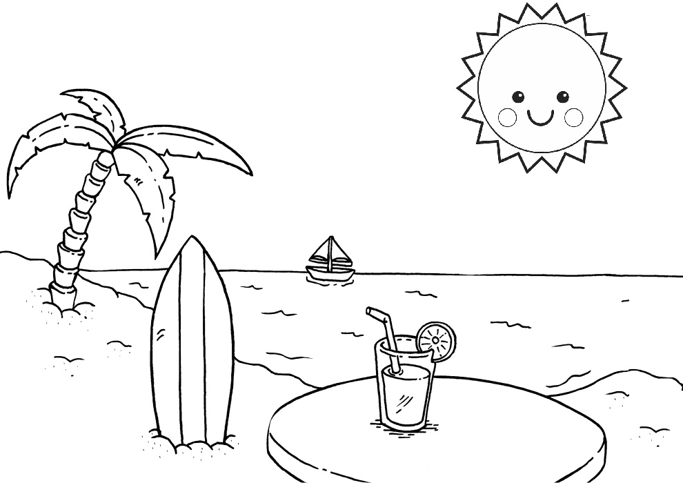 Beautiful Sun Relaxing Summer Beach Coloring Pages Print