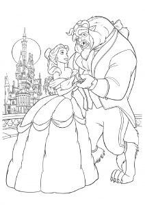 Beauty and the Beast Coloring Pages Belle Beast Near Palace