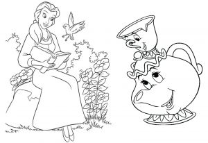 Beauty and the beast coloring page belle and cup