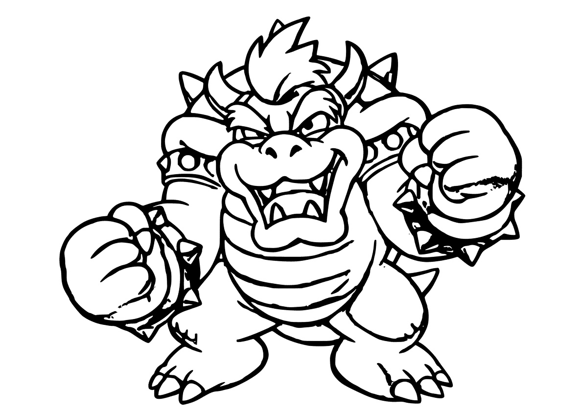 Bowser Coloring Page Free Printable Mario Villain Coloring Sheet