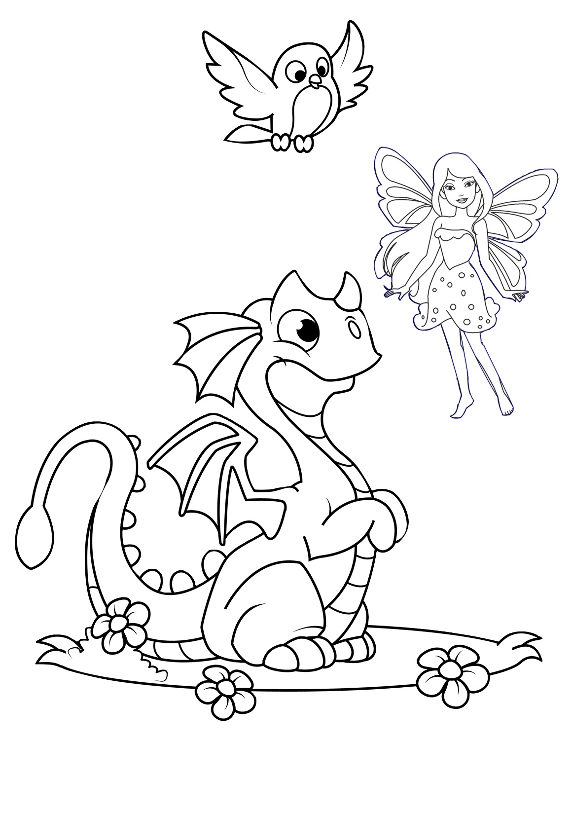 Cute Dragon with a Fairy Printable Coloring Page