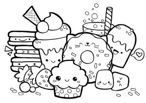 Cute Kawaii Food Coloring Pages Adorable Foods Printable Picture