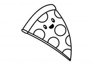 Cute Kawaii Food Pepperoni Pizza Coloring Pages