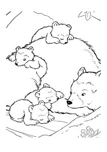 Cute Little Baby Bears with Mommy Bear Coloring Pages