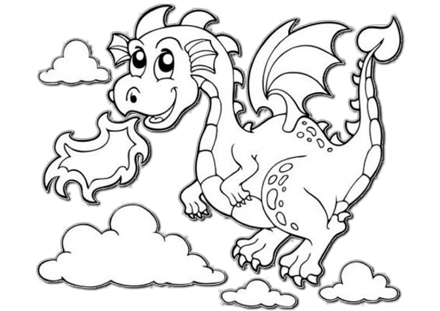 Cute Looking Dragon Easy Coloring Pages Preschool Toddlers
