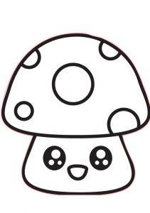 Cute Mushroom Easy Preschool Coloring Pages for Kids