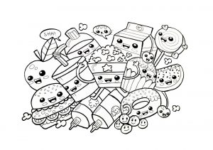 Cute and Tempting Foods Easy Coloring Pages