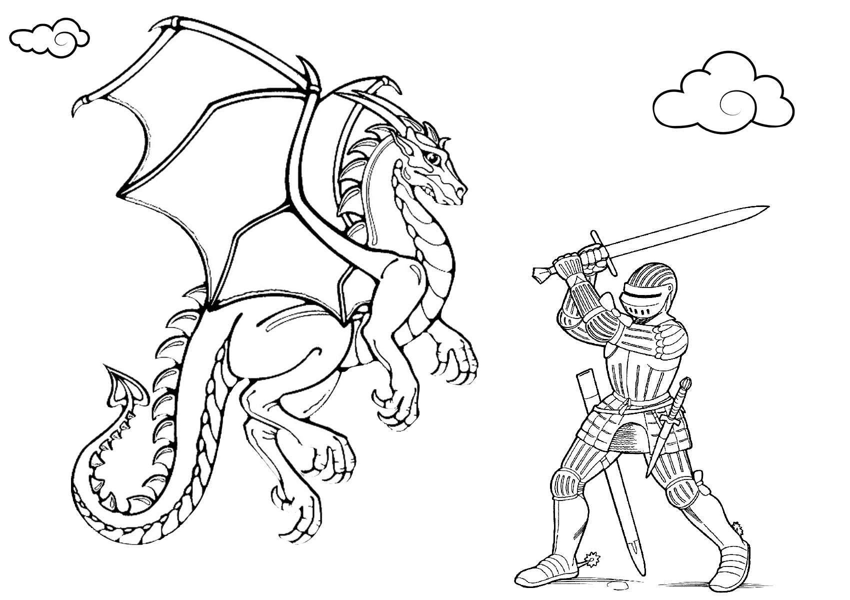 Dragon Warrior Knight and Dragon Coloring Pages