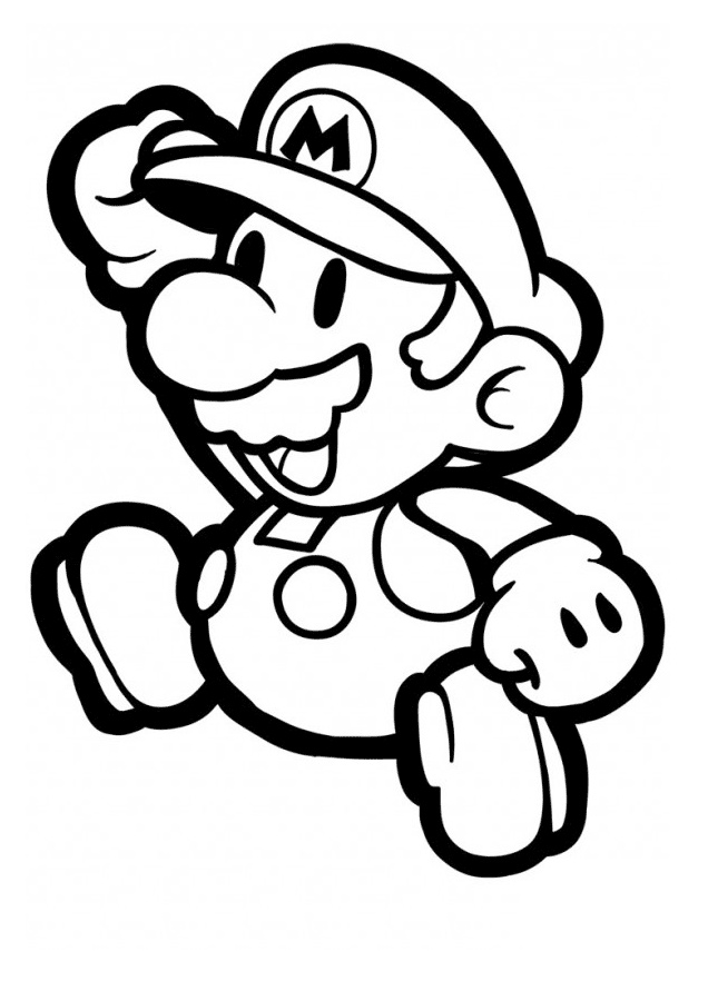 Easy to Color Paper Mario Coloring Pages