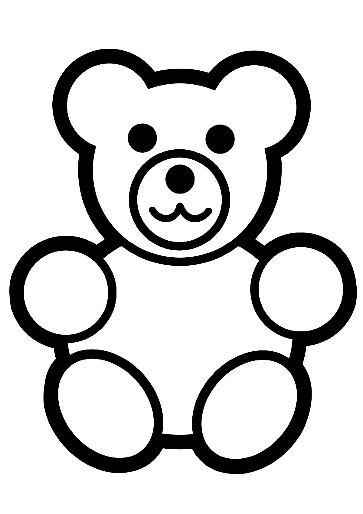 Teddy Bear Simple Kids Coloring Pages Printable   1700x1200