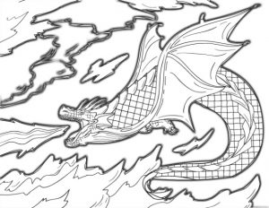 Fire Breathing Dragon Burning Sky Coloring Pages