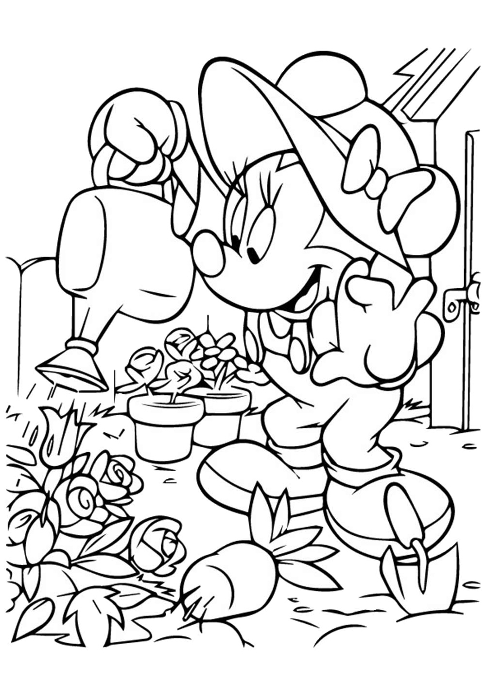 Free Minnie Mouse Coloring Pages Farmer Minnie Mouse Watering Her Flower Garden