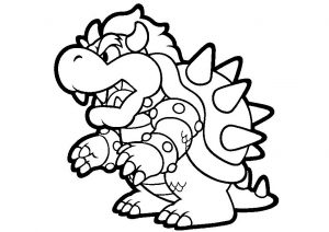 Free Printable Bowser Mario Coloring Pages Angry Looking Fire-breathing Bowser