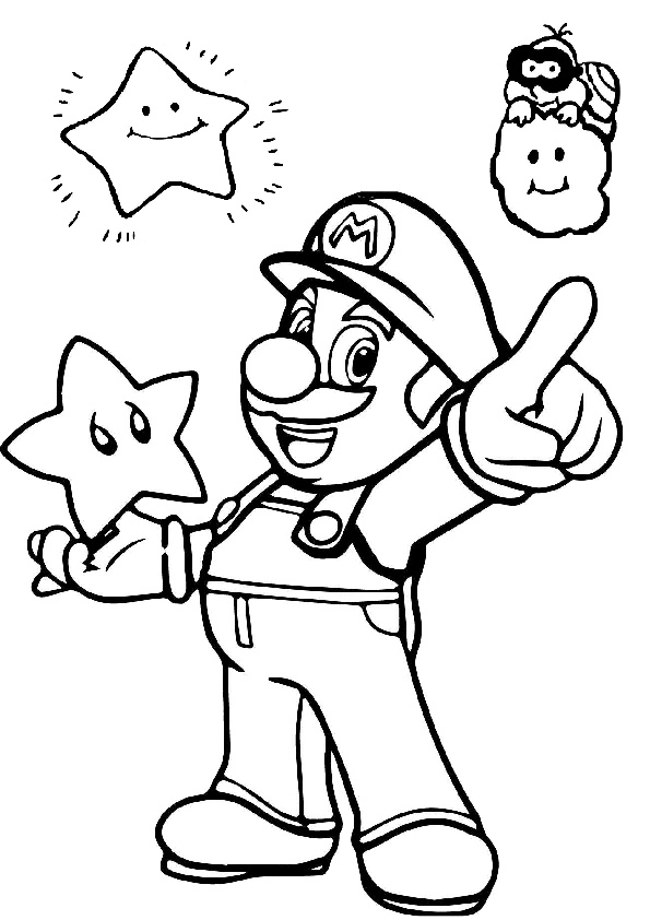 Free Printable Mario and Stars Coloring Pages