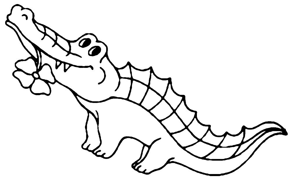 Funny and Cute Little Alligator Coloring Page