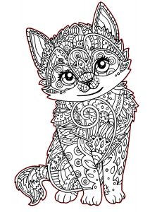 Hard to Color Cute Cat Coloring Pages for Adults