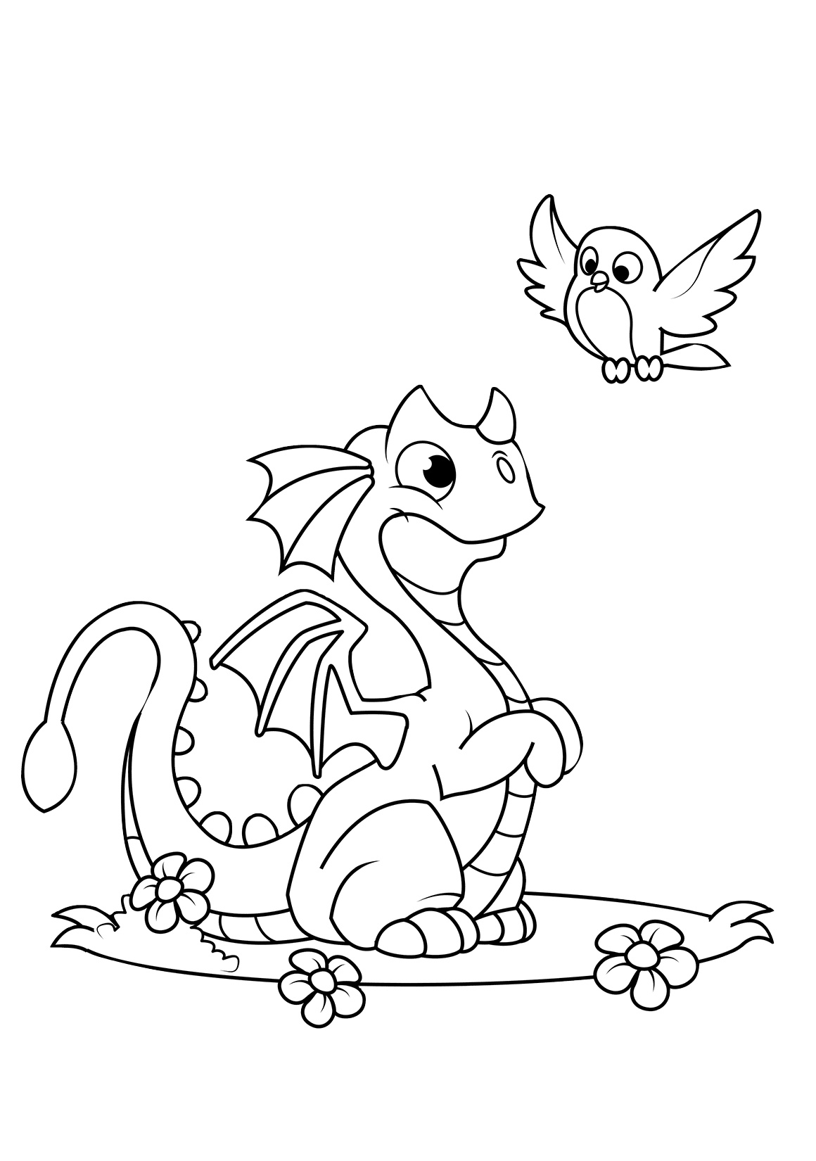 Humble Dragon Playing with a Bird Coloring Pages for Toddlers