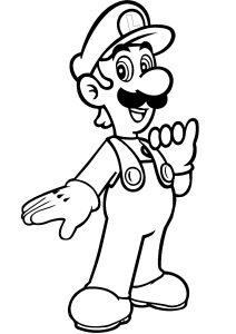 Luigi Mario Bros Coloring Pages Slim and Tall Luigi in Green Color Outfit