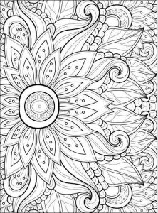 Mandala Detailed Flowers Coloring Pages for Adults