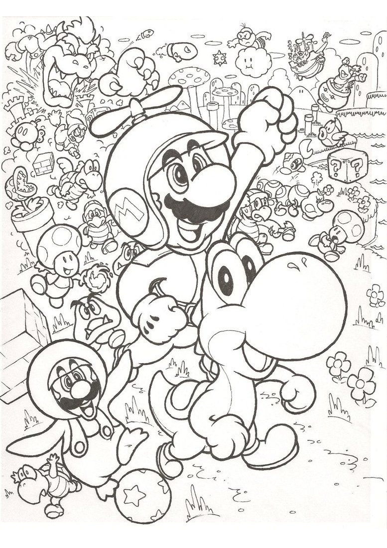 Mario Hard Coloring Pages for Adults Difficult and Stress Busting Mario Coloring