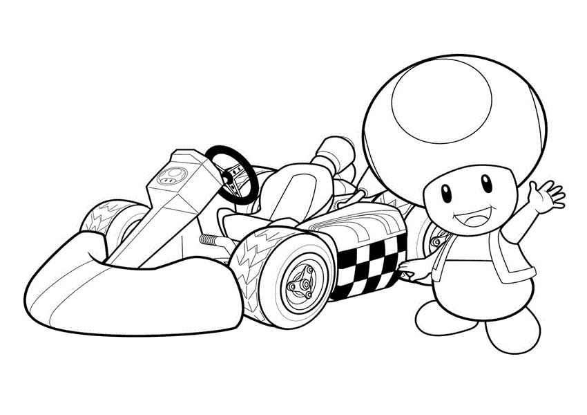 Mario Kart Coloring Page Princess Peach Loyal Mushroom Toad in Racing