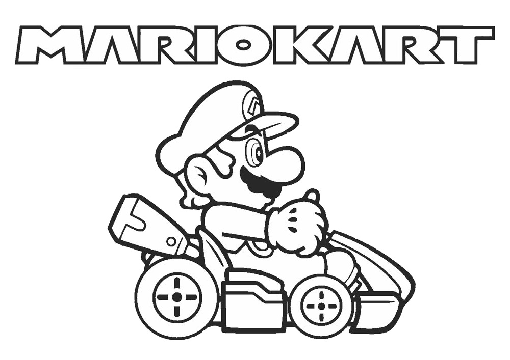 Mario Kart Racing Coloring Page Mario Driving Kart on Racetrack
