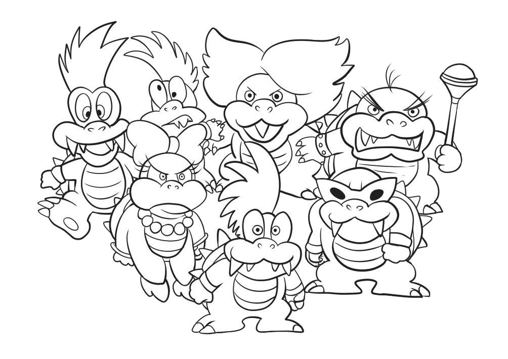 Mario Koopalings Coloring Pages Koopaling Characters Print Color