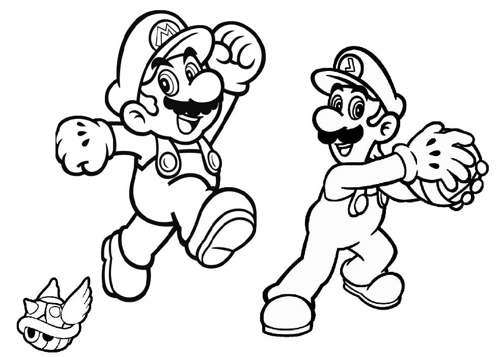 Mario Luigi Koopa Troopa Coloring Pages