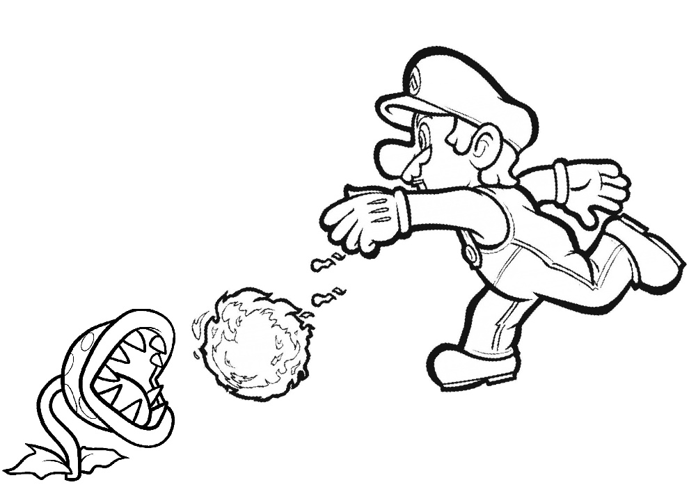 Mario Throwing Fire Mario Bros Coloring Pages