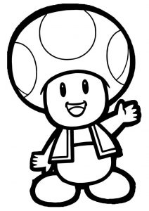 Mario Toad Coloring Pages Happy Smiling Mushroom-humanoid Toad